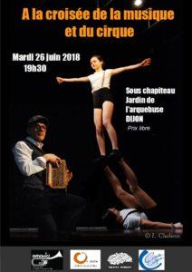 """Affiche """"A la croisée de la musique et du cirque"""""""